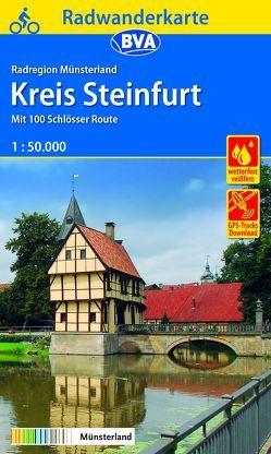 Radwanderkarte BVA Radregion Münsterland Kreis Steinfurt mit 100 Schlösser Route 1:50.000, reiß- und wetterfest, GPS-Tracks Download