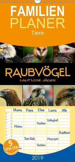Raubvögel – lautlose Jäger – Familienplaner hoch (Wandkalender 2019 , 21 cm x 45 cm, hoch) von Bleicher,  Renate