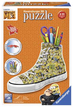 Ravensburger 3D Puzzle 11262 Sneaker Minions – Praktischer Stiftehalter – 108 Teile – Schreibtisch-Organizer für Kinder ab 8 Jahren