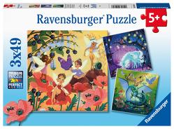 Ravensburger Kinderpuzzle 05181 – Einhorn, Drache und Fee – 3×49 Teile Puzzle für Kinder ab 5 Jahren