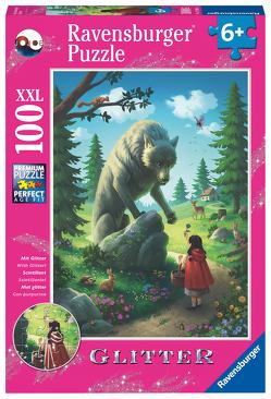 Ravensburger Kinderpuzzle 12988 – Rotkäppchen und der Wolf 100 Teile XXL – Puzzle für Kinder ab 6 Jahren – mit Glitzer