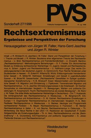 Rechtsextremismus von Falter,  Jürgen W., Jaschke,  Hans-Gerd, Winkler,  Jürgen R.