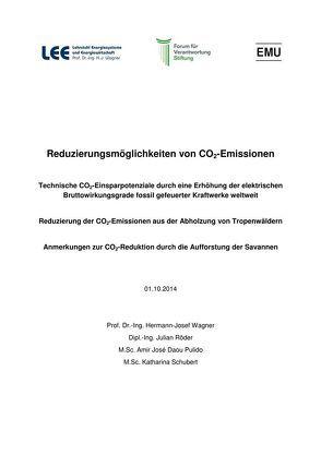 Reduzierungsmöglichkeiten von CO2-Emmissionen von Daou Pulido,  Amir Jose´, Röder,  Julian, Schubert,  Katharina, Wagner,  Hermann-Josef