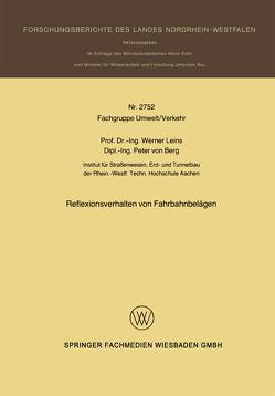 Reflexionsverhalten von Fahrbahnbelägen von Leins,  Werner