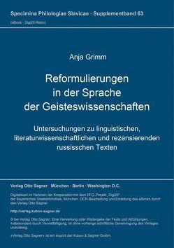 Reformulierungen in der Sprache der Geisteswissenschaften von Grimm,  Anja