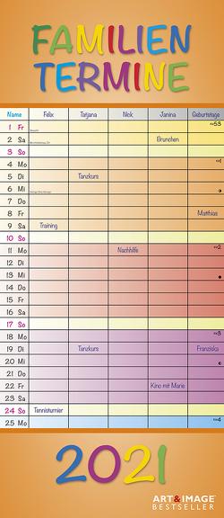 Regenbogen 2021 A&I Familienplaner -Terminkalender – Familienkalender – 19,5×45