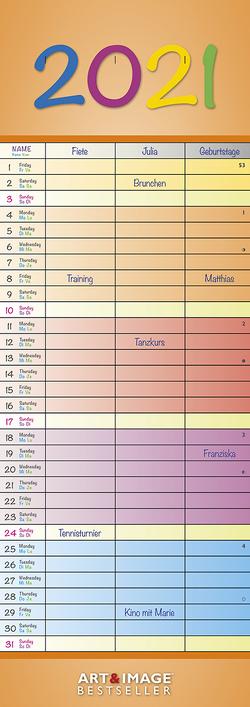 Regenbogen 2021 A&I – Slim-Notes – Streifenkalender – 14,85×42