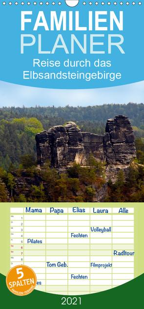 Reise durch das Elbsandsteingebirge – Familienplaner hoch (Wandkalender 2021 , 21 cm x 45 cm, hoch) von Rix,  Veronika