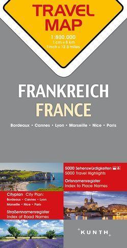 Reisekarte Frankreich 1:800.000