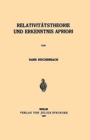 Relativitätstheorie und Erkenntnis Apriori von Reichenbach,  Hans