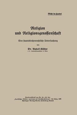 Religion und Religionsgenossenschaft von Köstler,  Rudolf