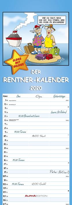 Rentner-Kalender 2020 – Streifenkalender (15 x 42) – mit lustigen Cartoons – Humor-Kalender – Sprüchekalender – Streifenplaner – Wandplaner von ALPHA EDITION, Pietrzak,  Dirk
