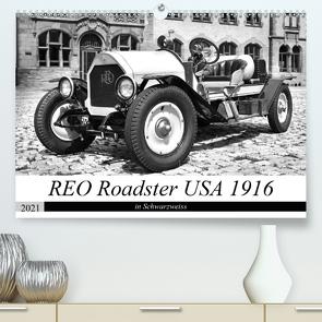 REO Roadster USA 1916 – in Schwarzweiss (Premium, hochwertiger DIN A2 Wandkalender 2021, Kunstdruck in Hochglanz) von Laue,  Ingo
