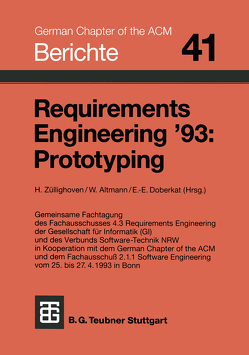Requirements Engineering '93: Prototyping von Altmann, Doberkat, Züllighoven