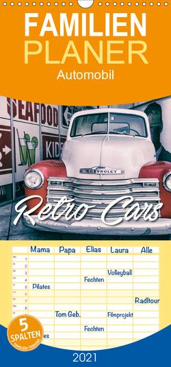 Retro Cars – Familienplaner hoch (Wandkalender 2021 , 21 cm x 45 cm, hoch) von Matschek,  Gerd