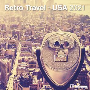 Retro Travel – USA 2021 – Wand-Kalender – Broschüren-Kalender – 30×30 – 30×60 geöffnet – Reise-Kalender
