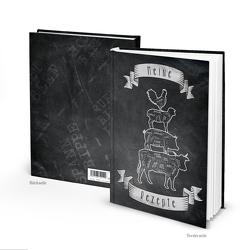 "Rezeptbuch ""Art Bremer Stadtmusikanten"" schwarz weiß (Hardcover A4, Blankoseiten)"