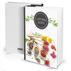 """Rezeptbuch """"Gewürze Kräuter"""" schwarz weiß (Hardcover A4, Blankoseiten)"""