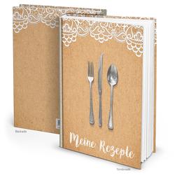 """Rezeptbuch """"Kraftpapier Spitze"""" beige weiß (Hardcover A4, Blankoseiten)"""