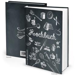 Rezeptbuch vintage Küchenutensilien schwarz weiß (Hardcover A5, Blankoseiten)