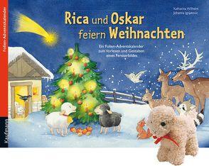 Rica und Oskar feiern Weihnachten mit Stoffschaf. Ein Folien-Adventskalender zum Vorlesen und Gestalten eines Fensterbildes von Ignjatovic,  Johanna, Wilhelm,  Katharina