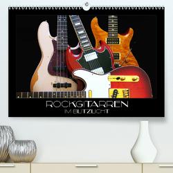 Rockgitarren im Blitzlicht (Premium, hochwertiger DIN A2 Wandkalender 2021, Kunstdruck in Hochglanz) von Bleicher,  Renate