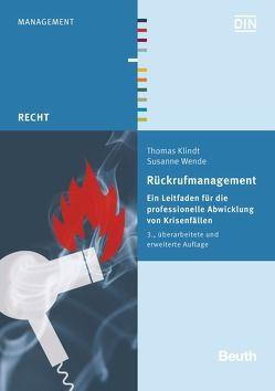 Rückrufmanagement von Klindt,  Thomas, Wende,  Susanne