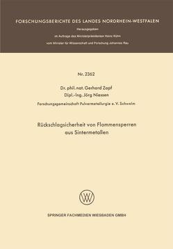 Rückschlagsicherheit von Flammensperren aus Sintermetallen von Zapf,  Gerhard