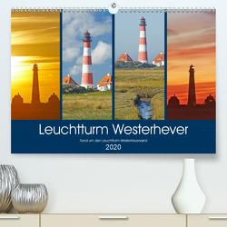 Rund um den Leuchtturm Westerheversand (Premium, hochwertiger DIN A2 Wandkalender 2020, Kunstdruck in Hochglanz) von Schulz,  Olaf