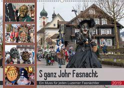 S ganz Johr FasnachtCH-Version (Wandkalender 2019 DIN A2 quer) von W. Saul,  Norbert