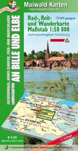 Sachsenwald = Rad-, Reit- u. Wanderkarte – Sachsenwald, Hohes Elbufer, Vier- und Marschlande Landschaften an Bille und Elbe von Maiwald,  Detlef sen. u. Björn jr.