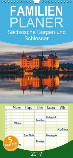 Sächsische Burgen und Schlösser – Familienplaner hoch (Wandkalender 2019 , 21 cm x 45 cm, hoch) von Kirsch,  Gunter