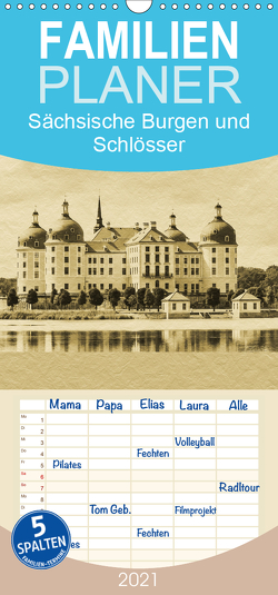 Sächsische Burgen und Schlösser – Familienplaner hoch (Wandkalender 2021 , 21 cm x 45 cm, hoch) von Kirsch,  Gunter