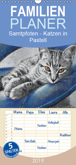 Samtpfoten – Katzen in Pastell – Familienplaner hoch (Wandkalender 2019 , 21 cm x 45 cm, hoch) von Felix,  Uschi