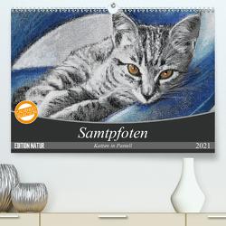 Samtpfoten – Katzen in Pastell (Premium, hochwertiger DIN A2 Wandkalender 2021, Kunstdruck in Hochglanz) von Felix,  Uschi