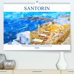 Santorin – Illustrationen der Kykladen Insel im Aquarell-Design (Premium, hochwertiger DIN A2 Wandkalender 2020, Kunstdruck in Hochglanz) von Frost,  Anja