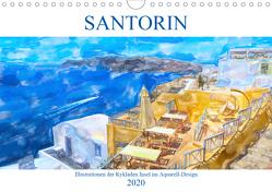 Santorin – Illustrationen der Kykladen Insel im Aquarell-Design (Wandkalender 2020 DIN A4 quer) von Frost,  Anja