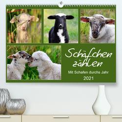 Schäfchen zählen – Mit Schafen durchs Jahr (Premium, hochwertiger DIN A2 Wandkalender 2021, Kunstdruck in Hochglanz) von Löwer,  Sabine
