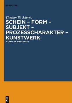 Schein – Form – Subjekt – Prozeßcharakter – Kunstwerk von Adorno,  Theodor W., Endreß,  Martin, Pichler,  Axel, Zittel,  Claus