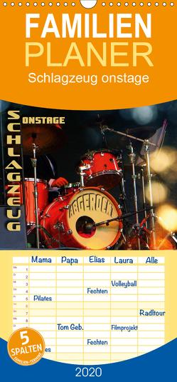 Schlagzeug onstage – abgerockt – Familienplaner hoch (Wandkalender 2020 , 21 cm x 45 cm, hoch) von Bleicher,  Renate