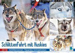 Schlittenfahrt mit Huskys (Wandkalender 2019 DIN A3 quer) von CALVENDO