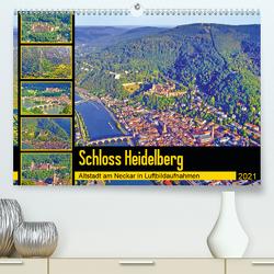 Schloss Heidelberg – Altstadt am Neckar in Luftbildaufnahmen (Premium, hochwertiger DIN A2 Wandkalender 2021, Kunstdruck in Hochglanz) von Liepke,  Claus
