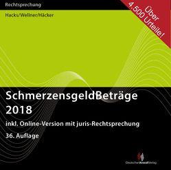 SchmerzensgeldBeträge 2018 (CD-ROM plus Online-Zugang) von Häcker,  Frank, Hacks,  Susanne, Wellner,  Wolfgang