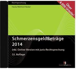 SchmerzensgeldBeträge 2014 (CD-ROM plus Online-Zugang) von Häcker,  Frank, Hacks,  Susanne, Wellner,  Wolfgang