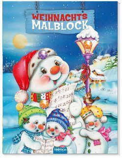 Schneemann-Malblock mit 3 Glitzersteinen und Farbvorlage Weihnachtsmalblock