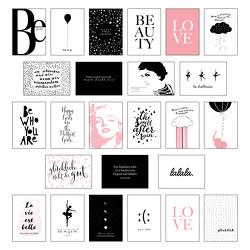 Schönes Postkarten Set mit 25 modernen und stylishen Postkarten zum Dekorieren oder Verschenken. Feminine Bilder, Sprüche und Statements für Frauen. Hochwertige Spruchkarten in dekorativer Box. von Wirth,  Lisa