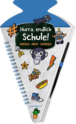 Schultüten-Kratzelbuch – Funny Patches – Hurra, endlich Schule! (blau) von Möller,  Felix