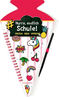Schultüten-Kratzelbuch – Funny Patches – Hurra, endlich Schule! (pink) von Möller,  Felix