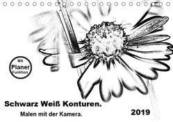 Schwarz Weiß Konturen. Malen mit der Kamera. (Tischkalender 2019 DIN A5 quer) von Gaudig,  Marlise