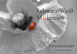 Schwarz-Weiß Malereien Terminkalender von Tanja Riedel für die SchweizCH-Version (Wandkalender 2021 DIN A3 quer) von Riedel,  Tanja